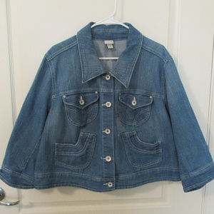 26/28 Crop Distressed-Look Denim Jacket Venezia
